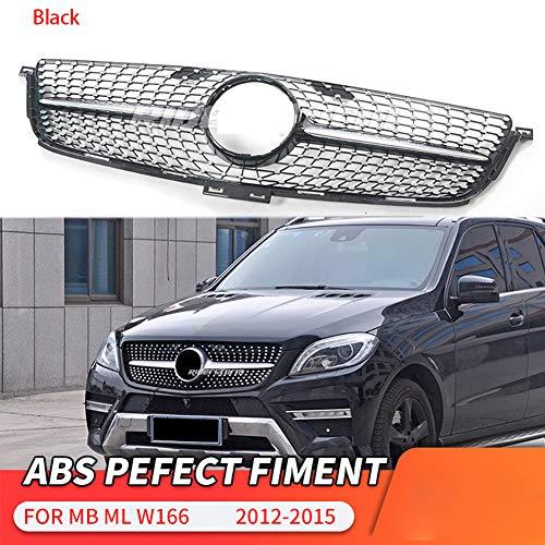 LSYBB ABS Frontstoßstange Diamond Grill Kühlergrill für Mercedes ML Klasse W166 ML250 ML300 2012-2015,Black