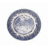 12 Platos de postre churchill England porcelana blanca y azul decorada con paisajes...