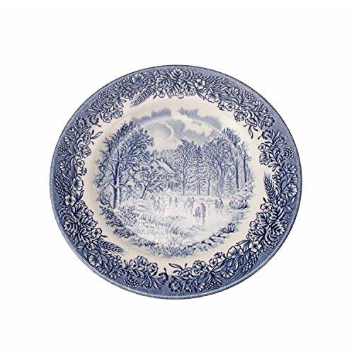 12 Platos de postre churchill England porcelana blanca y azul decorada con paisajes ingleses | 20 cm Ø