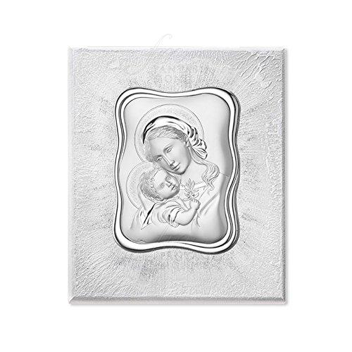 Marco Acca Sacro Virgen con Niño bañado en plata madera tamaño 30x 36e.300M