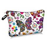 Colorful Butterfly Cosmetic Bag Makeup Bags,Small Makeup Pouch Travel Toiletry Organizer With Zipper For Women Girls