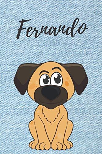 Fernando personalisiertes Notizbuch Hunde / Malbuch / Tagebuch / Journal / DIN A5 / Geschenk: individuelles personalisiertes blanko Jungen & Männer ... Weihnachts & Geburtstags Geschenk für Männer.