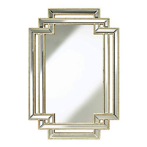 Z-jingzi Espejo de Acento Decorativo de Pared de Oro clásico Abalorios Madera Decorativa Que cuelga el Espejo Grande, 27 × 35 Pulgadas