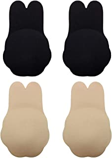 2 Pairs Invisible Self-Adhesive Bra, Women Backless Adhesive Bra Rabbit Strapless Lift Bra Push up Sticky Nipplecovers Secret Bra