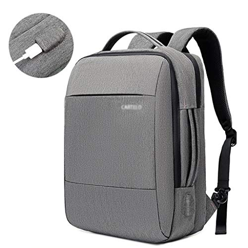 Travel Laptop Backpack,Business Slim Durable Rucksack with USB Charging Port,Water Resistant College School Computer Bag for Women & Men Fits 15.6 Inch Laptop & Notebook (Color : Gray)