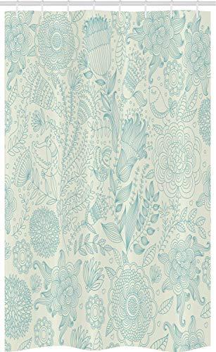 ABAKUHAUS Blau & Grün Schmaler Duschvorhang, Antike Blumen, Badezimmer Deko Set aus Stoff mit Haken, 120 x 180 cm, Hellgrün Blau