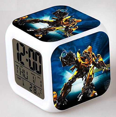 Enjoy Life : Cute Digital Multifunctional Alarm Clock with Glowing Led Lights and Transformers Sticker, Good Gift for Your Kids, Comes with Bonuses (02)
