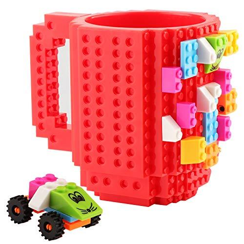 Coolty Build on Brick Mug, Building Blocks Tasse Becher,DIY Neuheit Kaffeetasse mit Bausteine,Vatertag Weihnachten Geschenk Idee(Rot)