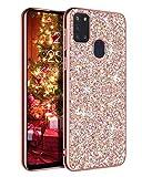 YINLAI - Cover per Samsung Galaxy A21S, per Samsung A21S, con glitter luccicanti e brillanti, sottile e durevole, in TPU ibrido, antiurto, antiurto, antiscivolo, per Samsung A21S, colore: Rosa