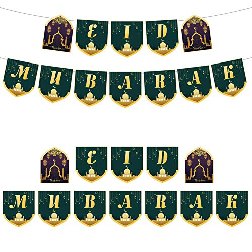 Hotsel Eid Mubarak Decorative Banners, Card Letter Garland Banners, Islamic Muslim Rouzin Banners, Ramadan Party Decorations, Easy to Fold and Store