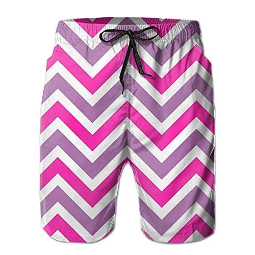 GOSMAO Bañadores para Hombre Pantalones Cortos de Verano clásicos con Estampado de Chevron en Acuarela Rosa Pantalones Cortos de baño Casuales con Bolsillos para Hombres