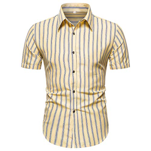 Lowest Price! Doad Men's Summer Striped Printed Short-Sleeved Shirt Stylish and Comfortable Top