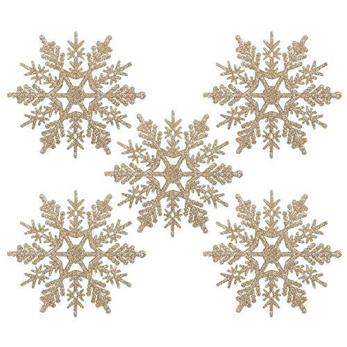 Naler 24 x Schneeflocken Weihnachten Deko für Weihnachtsbaum Glitzer Weihnachtsbaumschmuck, Champagner