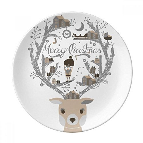 DIYthinker Inizio Regalo Cena Cervi Babbo Natale casa Regalo in Porcellana Decorativi Piatto di Dessert da 8 Pollici Diametro di 21 cm