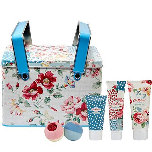 Cath Kidston Beauty Cottage Patchwork Picknickdose Geschenkset, 100 ml Duschgel, 75 ml Bodylotion, 50 ml Körperpeeling, 2 x 80 g Bath Fizzers
