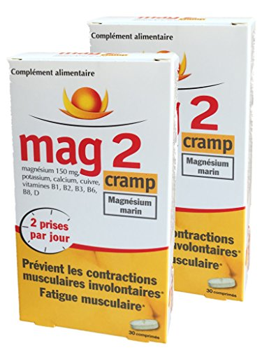 Mag 2 Cramp - Magnésium Marin - Prévient les contractions musculaires involontaires, Fatigue musculaire - 1 MOIS de Traitement - Lot de 2 Boites de 30 Compimés