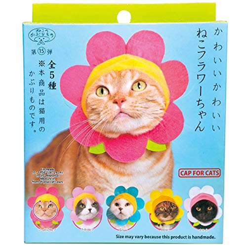 Kitan Club Cat Cap - Pet Hat Blind Box Includes 1 of 5 or 6 Cute Styles - Soft, Comfortable - Authentic Japanese Kawaii Design - Animal-Safe Materials, Premium Quality (Flower)