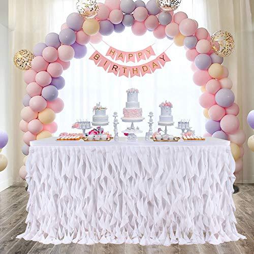 Leegleri 6ft White Curly Willow Table Skirt Tulle Tutu Table Skirt Taffeta Table Skirt for Round Table or Rectangle Tables,Table Skirting for Weeding,Baby Shower Decoration