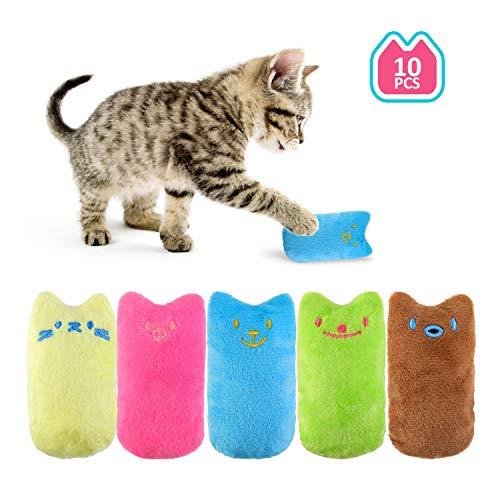 EKKONG Spielzeug mit Katzenminze, 10 Stück Set Niedlich Plüsch Daumen Geformt Katzenspielzeug Beschaftigung, Katzen Kauen Spielezeug Katzenkissen, Interaktives Spiele für Katzen Kitten zum Kuscheln