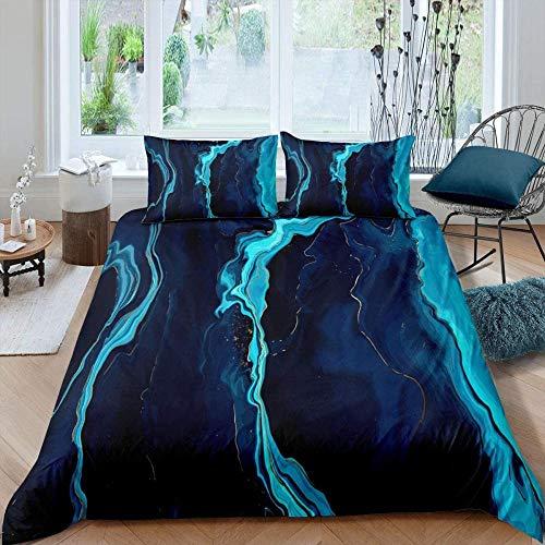Meimall Juego De Ropa De Cama De 3 Piezas Azul Creativo Abstracto Arte 150X220 Cm Microfibra Suave Transpirable Moderno Juego De Fundas Edredón con 1 Funda Nórdica + 2 Funda De Almohada