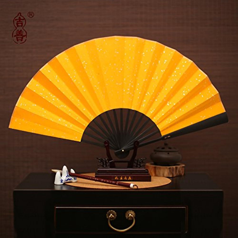 GUYOUYY Folding fan blank calligraphy fan painting fan Xuan paper folding fan silk fan fan Wenwan fan bluee and white porcelain dance fan,13 inch black bone gold paper