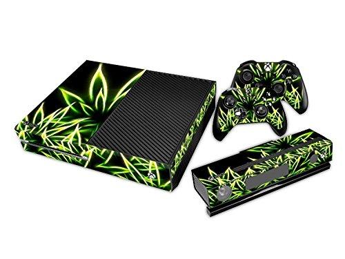 Xbox ONE Designfolie für Konsole + 2 Controller + Kamera Sticker Skin Set – glowing Weed Cannabis