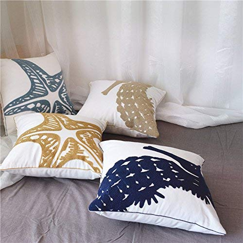 MOCOFO Set of 4 Coastal Ocean Beach Voyage Starfish Seahorse Nautical Embroidered Cute Navy Animal Sea Throw Pillow Covers,Decorative Canvas Cotton Linen Case Cushion Cover Home Sofa Decor 18x18''