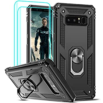 LeYi Compatible for Samsung Galaxy Note 8 Case  Not Fit 8 Plus  with [2 Pack] 3D Curved Screen Protector [Military-Grade] Magnetic Ring Holder Kickstand Protective Phone Case for Samsung Note 8,Black