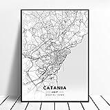NOVELOVE Catania Stadt Italien Karte Poster HD Drucke
