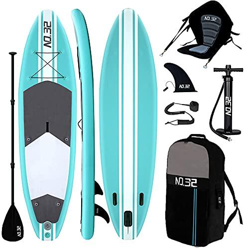 Tabla Hinchable de Paddle Surf + SUP Paddle Remo de Ajustable | Bomba | Mochila | Aleta Central Desprendible | Kit de Reparación | Asiento de Kayak y Surf Leash(300*76*15cm Grosor, Carga Hasta: 350kg)