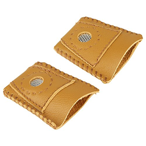 VBESTLIFE- Leather Thimble, 2 Pcs Large Size Leather Thimble Finger Sets Handmade Needlework Cover with Metal Tip Hand Needlework Sewing Tool
