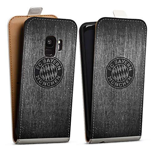 DeinDesign Tasche kompatibel mit Samsung Galaxy S9 Duos Flip Hülle Hülle Weiß Metallic Erscheinungsbild FCB FC Bayern München