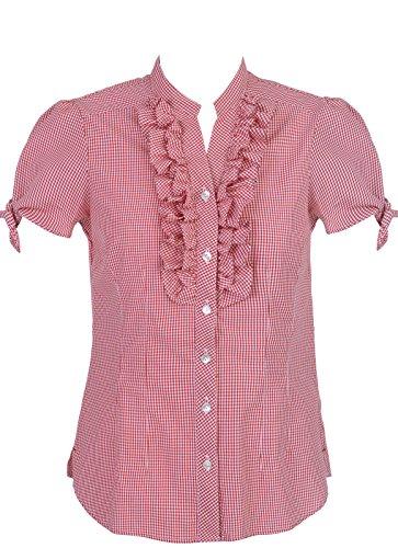 Spieth & Wensky Dames folkloristische blouse Elmara rood wit geruit met ruches