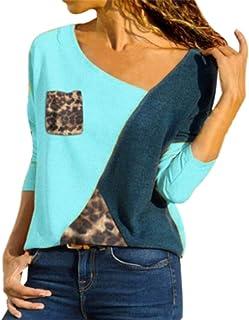 FRPE Women's Long Sleeve Crew Neck Leopard Print Splicing Casual T-Shirt Blouse Top