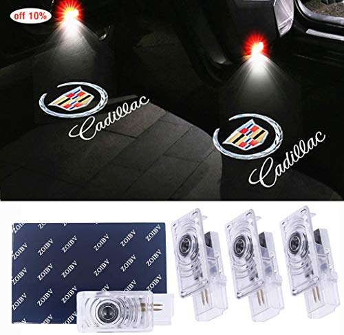 4 Pack Car Door Lights for Cadillac Logo Lights Car Door Lighting Entry Ghost Shadow Projector Laser Emblem Welcome Lamp for ATS SRX XTS Cadillac Accessories Replacement
