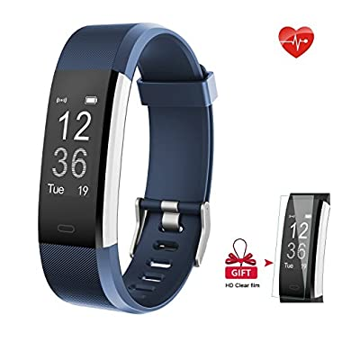 AIEX Fitness Tracker, Heart Rate Monitor Smart Watch With Connected GPS Tracker, 14 Sports Mode, Message Notification,Waterproof Activity Tracker for Android and iOS with Gift Screen Protector (Blue)