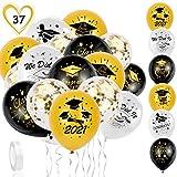 HOWAF Kit de globos de graduación 2021, 35 unidades, plata, negro y oro, con globos de látex de clase de 2021 y globos de confeti dorados para decoraciones de graduación 2021 suministros de fiesta