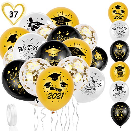 HOWAF 2021 Fiesta de Graduación,35 PCS Globos de látex Oro y Negros,Plateados,Fiesta de graduación Globos Decoración,Globos graduación con Sombrero graduación para niños y niñas graduación Dec
