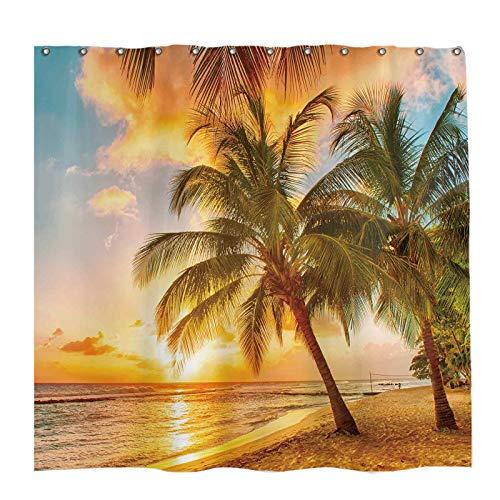 Allenjoy 72x72 inch Summer Tropical Seaside Shower Curtain Set Palm Trees Hawaiian Sunset Scenery Decor Home Bathroom Bathtub Curtains Durable Waterproof Washable Fabric with 12 Hooks