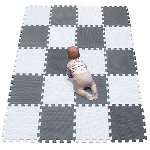 YIMINYUER Puzzlematte | Kälteschutz | abwaschbar | Kinderspielteppich Spielmatte Spielteppich Matte Schaumstoffmatte Kinderteppich Weiß Grau R01R12G301020