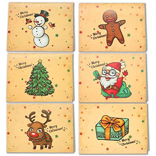 LEHOUR 30 PCS Tarjetas de Feliz Navidad Tarjetas de Renos de la Serie Santa con Sobres y Calcomanías para el...