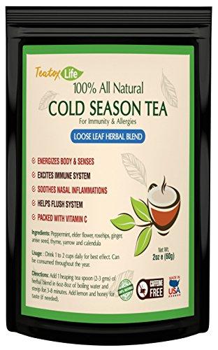 Elderberry Tea with Calendula, Yarrow, Rosehip, Thyme, Peppermint - Immune System Booster Cold Season Tea| Caffeine Free Immunity Support Herbal Blend - 60 grams