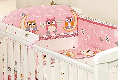 Baby Items, Cribs Suite 3, Duvet Covers, Pillow Cases, Bumpers, Baby Bedroom, Children's Room,140 x 70 cm-OWL Pink