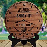 ArogGeld Wood Wall Clock Retirement Gifts for Man Life Begins at Retirement Enjoy It! 14' Round Hanging Clock Rustic Tuscan Style Clock Silent Non Ticking Wall Decor for Home,Office,School