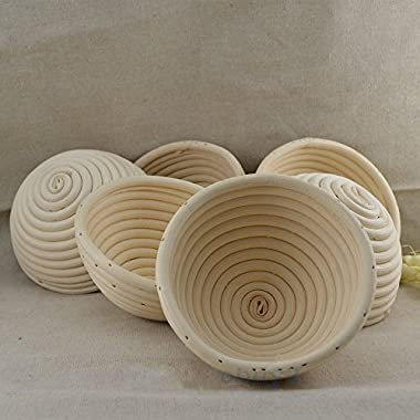 6 Pieces 5 (13CM) Round Proofing Basket Banneton Brotform,Round Rattan Banneton Brotform Bread Proofing Proving Basket,Wholesale