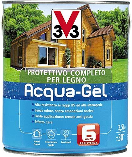 V33 Protettivo Completo Legno Acqua-Gel Colore Noce Medio 3 litri