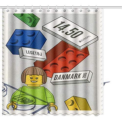 D-M-L Duschvorhang Dänemark Circa Eine Briefmarke Gedruckt In Dänemark Zeigt Lego Blocks Europa Circa Graphics Badezimmer-Set Mit Haken Duschvorhang Liner 122X183CM