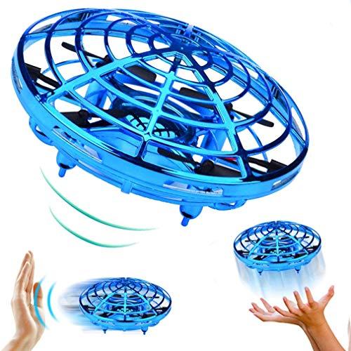 QKa Accionamiento Manual Drone - 5 mágicas Sensores Manos Libres Mini Aviones no tripulados para niños Juguetes voladores Regalos para niños y niñas, Flying Fidget Spinner,Azul,1pcs