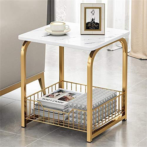 LIUSU-Walker Beistelltische für Wohnzimmer, Nesting Couchtische Sofa Konsolentische Marmoroptik, einfache Montage 30 * 40 * 42cm,Weiß