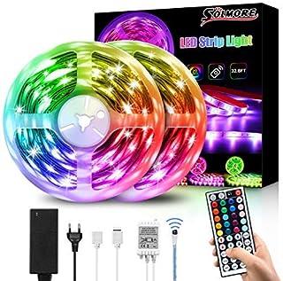 Ruban LED 10M, SOLMORE Bande LED RGB (5Mx2) 300LEDs IP65 Étanche, Ruban à LED Multicolore 12V 5A avec Télécommande, Peut-D...